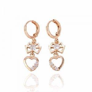 14K Gold Zircon Heart Dangle Earrings