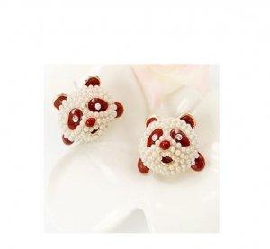 Lovely Giant Panda Pearl 18K Gold Plated Red Enamel Earrings
