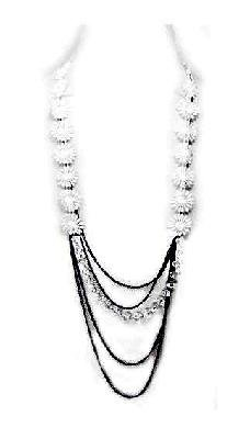 White Floral Fabric Glass Metal Chain Necklace