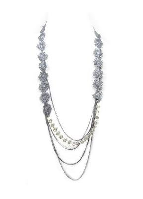 Gray Floral Lace Glass Metal Chain Necklace