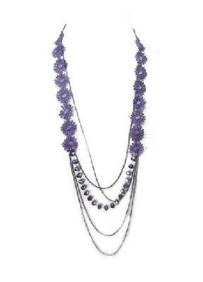 Purple Floral Lace Glass Metal Chain Necklace