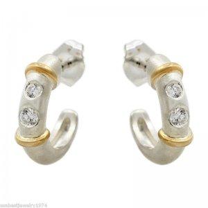 14K Gold over Sterling SIlver CZ Hoop Earrings