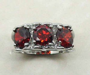 14K WGF Created Red Garnet Ring Size 7
