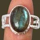 5.46cts Blue Labradorite 925 Sterling Silver Solitaire Ring Size 7 1/2