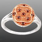 0.16cts Genuine Red Diamond Round 925 Sterling Silver Ring Size 9