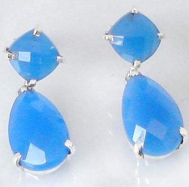 21.16cts Blue Chalcedony Pear 925 Sterling Silver Dangle Earrings