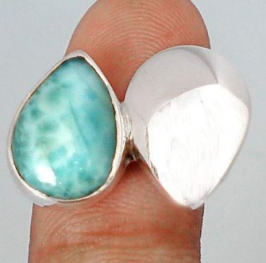 5.08cttw Sweet Blue Larimar Pear 925 Sterling Silver Solitaire Ring Sz 9