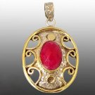 8.15cts Victorian Red Ruby Oval 925 Sterling Silver Solitaire Pendant w/Chain