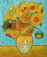 The vase with 12 sunflowers