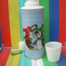 Original Vintage  Soviet Russian Ussr Metal Thermos Penquins Fishin' Great Shape