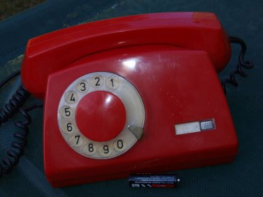VINTAGE SOVIET  POLAND TELEPHONE ROTARY DIAL ASTER  BY TELKOM RWT RED COLOR