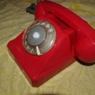 VINTAGE RARE SOVIET RUSSIAN USSR ROTARY DIAL PHONE  RED COLOR