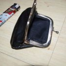 VINTAGE SOVIET BLACK LEATHER  KISS LOCK COIN CHANGE PURSE WALLET