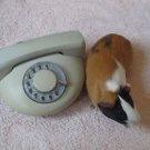 VINTAGE SOVIET CZECHOSLOVAKIA ROUND ROTARY DIAL PHONE TESLA  CAPUCCINO COLOR