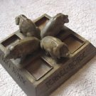 ANTIQUE CARVED WOOD ASHTRAY FERKEL BORSE FOUR PIGS FROM GERMANY