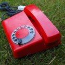 VINTAGE RARE SOVIET POLAND ROTARY DIAL PHONE RED COLOR  ELEKTRIM TULIPAN