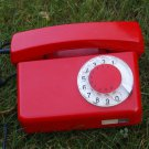 Vintage Soviet Poland Rotary Dial Phone TELKOM RWT TULIPAN Red Color