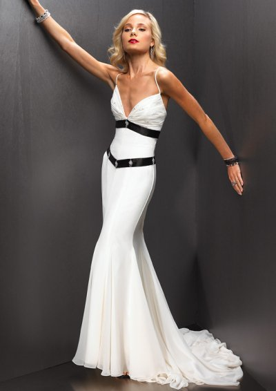 Sexy White Spaghetti  Evening Dresses Prom Formal Party Gowns 1205