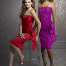 Simple Short Strapless Evening Dresses Bridesmaids Dresses Prom Formal Party Gowns MLB004