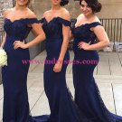 Mermaid Off-the-Shoulder Lace Long Navy Blue Evening Prom Dresses Party Formal Bridal Gowns 01