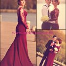Elegant Mermaid Long Sleeve Lace Evening Prom Dresses Party Formal Bridal Gowns 03