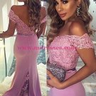 Mermaid Off-the-Shoulder Lace Long Prom Evening Bridesmaid Dresses 01