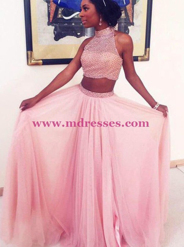 Two Pieces High Neck Long Pink Prom Evening Party Formal Dresses 10