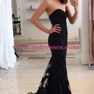 Mermaid Sweetheart Lace Long Black Prom Evening Party Formal Dresses 11