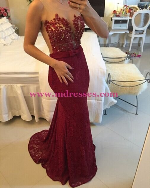 Mermaid Long Red Lace Prom Evening Party Formal Dresses 13