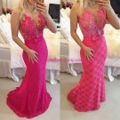 Mermaid Long Pink Lace Prom Evening Party Formal Dresses 14