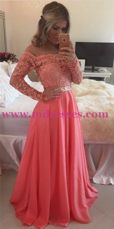 Mermaid Long Sleeve Coral Lace Prom Evening Party Formal Dresses 15