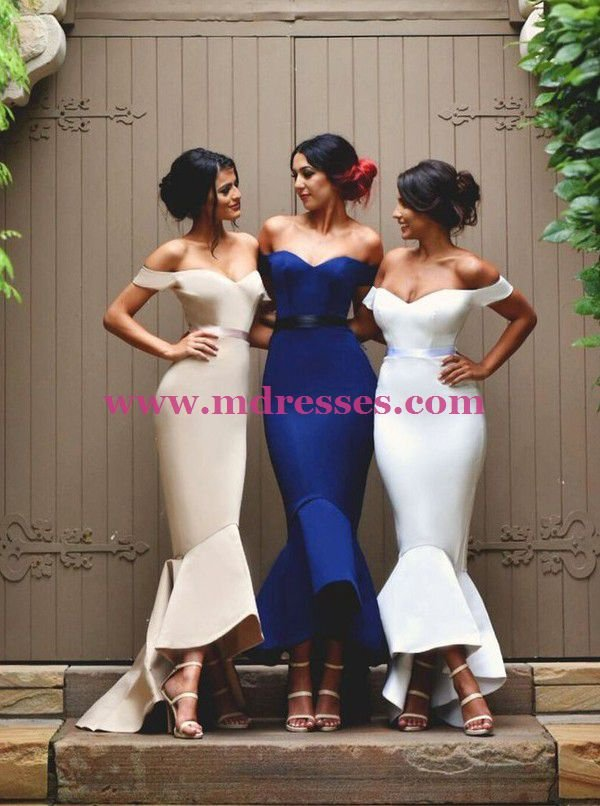 Mermaid Off-the-Shoulder Wedding Party Bridesmaid Prom Evening Party Formal Dresses 17