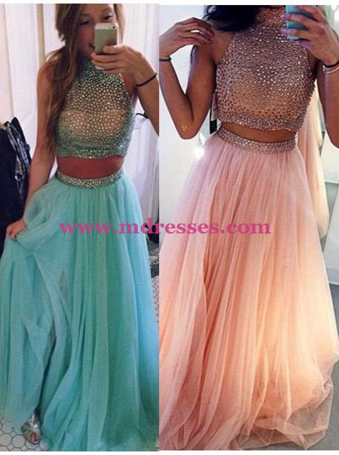 Two Pieces High Neck Long Pink Prom Evening Party Formal Dresses 18