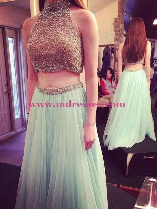 Two Pieces High Neck Long Green Prom Evening Party Formal Dresses 19
