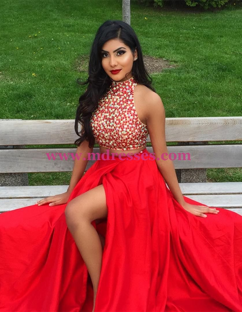 Two Pieces High Neck Long Red Prom Evening Party Formal Dresses 20