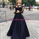 Long Sleeve Black Lace Wedding Party Prom Evening Party Formal Dresses 24