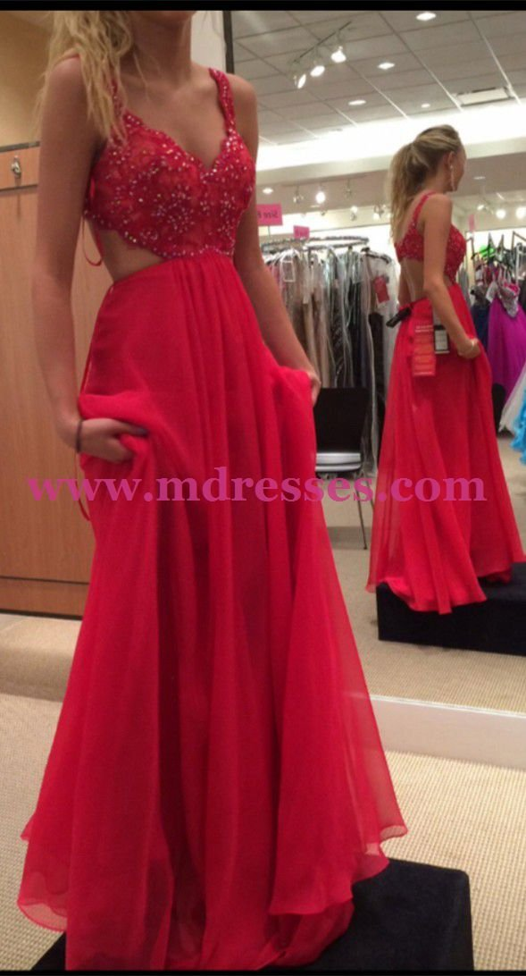 Long Red Lace Appliques Wedding Party Prom Evening Party Formal Dresses 27