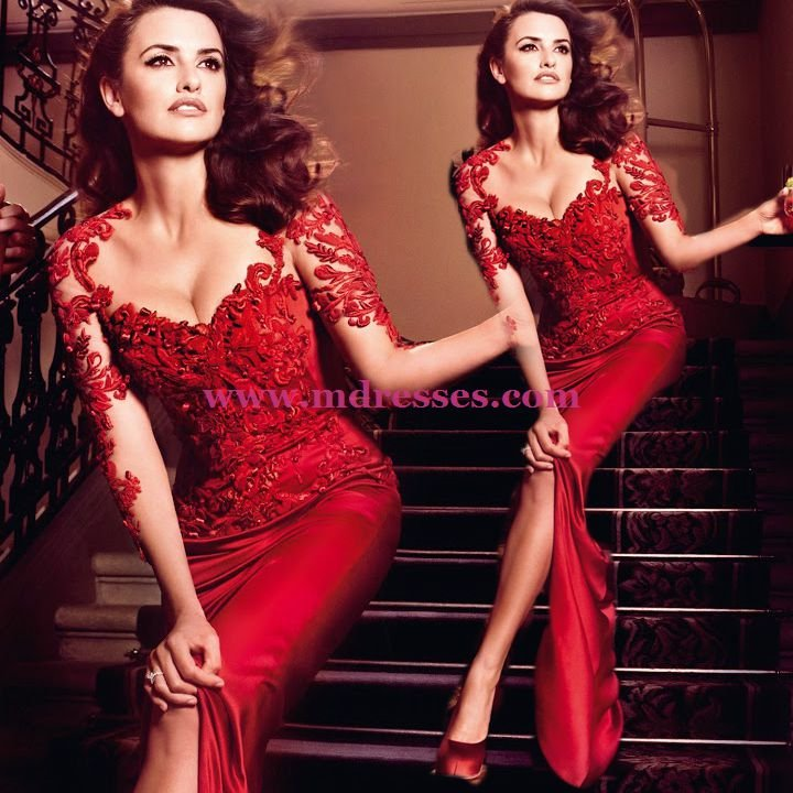 Long Sleeve Red Lace Wedding Party Prom Evening Party Formal Dresses 33