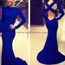 Long Sleeve Blue Wedding Party Prom Evening Party Formal Dresses 32