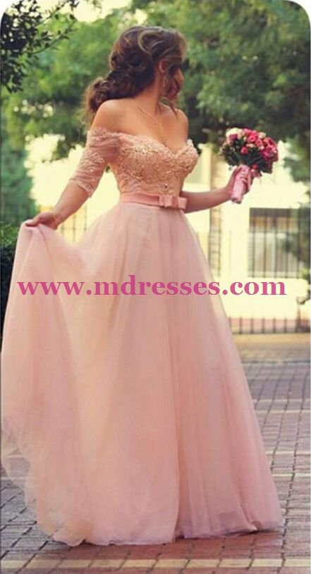 Long Pink Lace Off-the-Shoulder Half Sleeve Wedding Party Prom Evening Formal Dresses 38