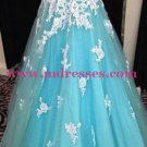 A-Line Sweetheart Blue White Long Wedding Party Prom Evening Formal Dresses 40