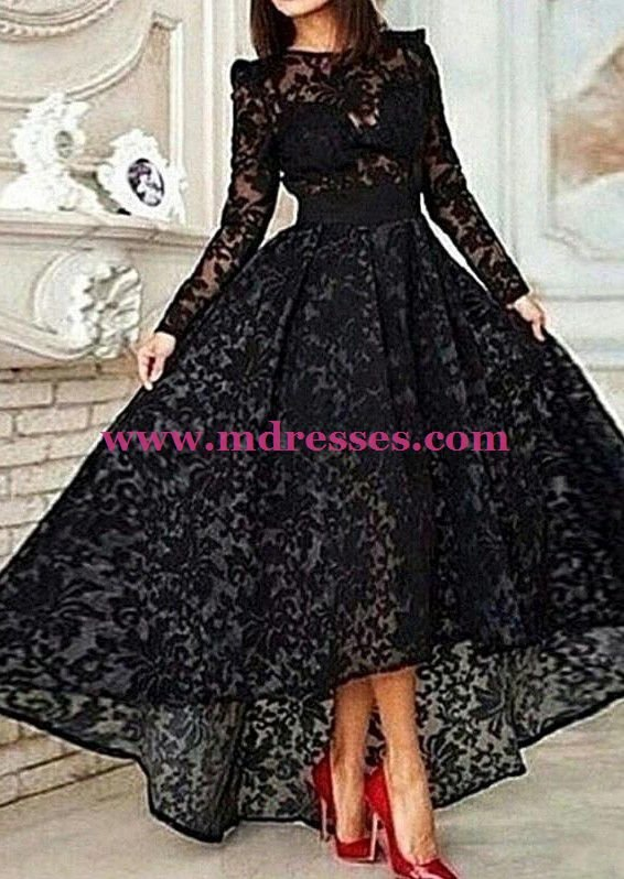 High Low Black Long Sleeve Lace Wedding Party Prom Evening Formal Dresses 44