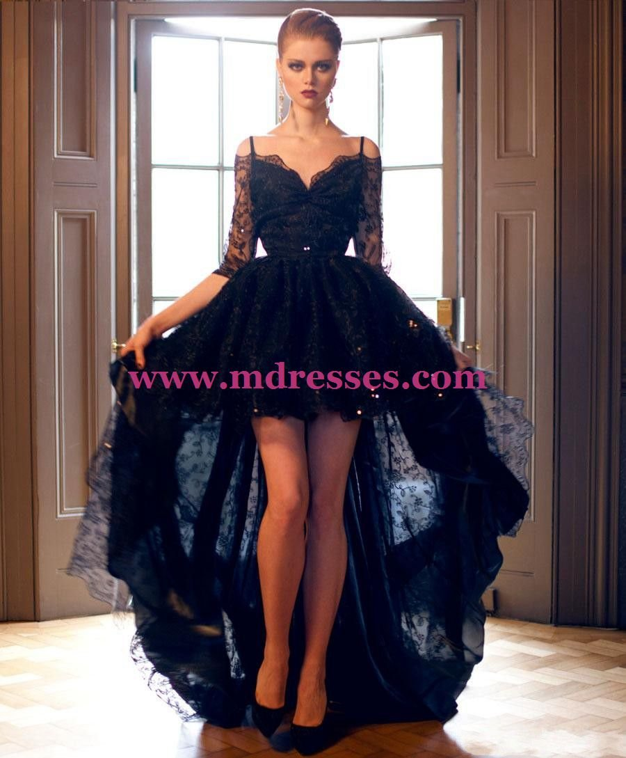 High Low Half Sleeve Lace Wedding Party Prom Evening Formal Dresses 46
