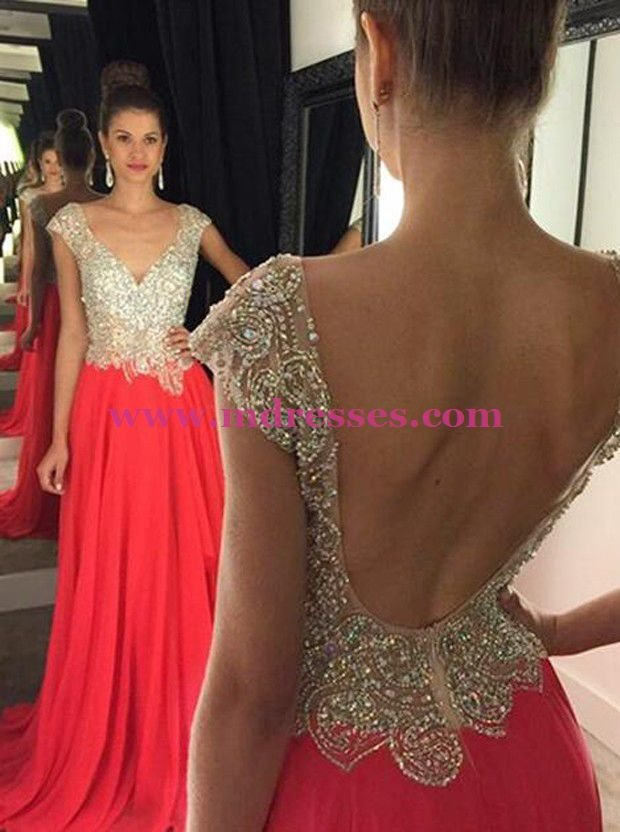 Long Red Beaded Wedding Party Prom Evening Formal Dresses 48