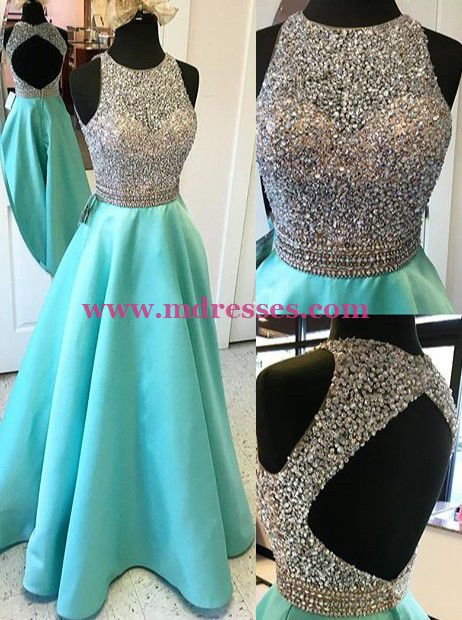 A-Line Beaded Long Wedding Party Prom Evening Formal Dresses 51