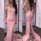 Mermaid Off-the-Shoulder Pink Lace Long Wedding Party Prom Evening Formal Dresses 53