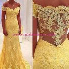 Yellow Lace Off-the-Shoulder Long Wedding Party Prom Evening Formal Dresses 61