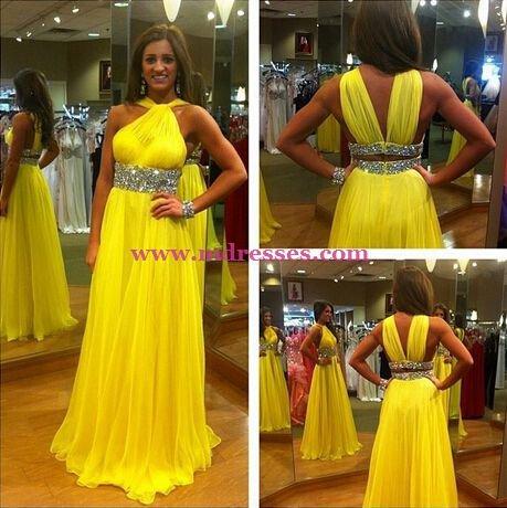 Beaded Yellow Chiffon Long Wedding Party Prom Evening Formal Dresses 63