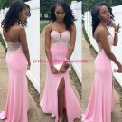 Sheath Beaded Long Pink Wedding Party Prom Evening Formal Dresses 67
