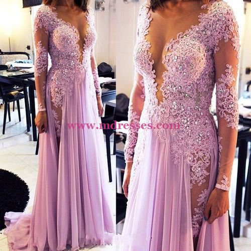 Sheath Lace Long Sleeves Lilac Wedding Party Prom Evening Formal Dresses 71